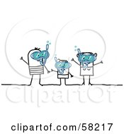 Royalty Free RF Clipart Illustration Of A Stick People Character Family Snorkeling by NL shop