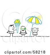 Royalty Free RF Clipart Illustration Of Stick People Character Kids With Shades Ice Cream And An Umbrella On A Beach by NL shop