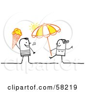 Royalty Free RF Clipart Illustration Of A Stick People Character Couple With Ice Cream And An Umbrella On A Beach by NL shop