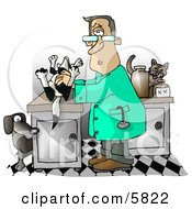 Male Veterinarian Handling A Dead Dog On A Table Clipart Illustration