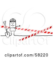 Stick People Character Construction Worker Digging In A Blocked Off Zone