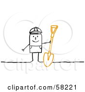 Royalty Free RF Clipart Illustration Of A Stick People Character Construction Worker With A Shovel