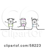 Stick People Character Women Exercising In A Fitness Class