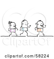 Royalty Free RF Clipart Illustration Of Stick People Characters Running