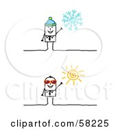 Royalty Free RF Clipart Illustration Of A Stick People Character Businessman In Winter And Summer by NL shop