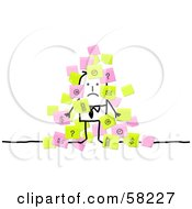 Royalty Free RF Clipart Illustration Of A Stick People Character Businessman Overwhelmed With Sticky Notes
