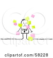Stick People Character Businessman Surrounded By Sticky Notes