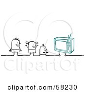 Royalty Free RF Clipart Illustration Of Stick People Character Kids Watching TV