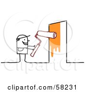 Royalty Free RF Clipart Illustration Of A Stick People Character Painting A Door