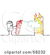 Stick People Character Fireman Using A Fire Extinguisher