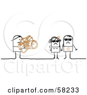 Royalty Free RF Clipart Illustration Of A Stick People Character Photographer Snapping Pictures Of Celebrities by NL shop