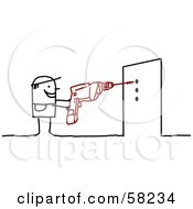Royalty Free RF Clipart Illustration Of A Stick People Character Using A Power Drill