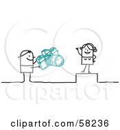 Royalty Free RF Clipart Illustration Of A Stick People Character Photographer Taking Pictures Of A Model