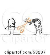 Royalty Free RF Clipart Illustration Of A Stick People Character Hairdresser Cutting A Womans Hair by NL shop