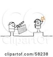 Royalty Free RF Clipart Illustration Of A Stick People Character Actress And A Person Using A Clapperboard by NL shop