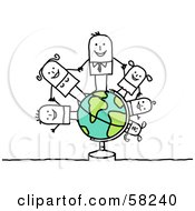 Royalty Free RF Clipart Illustration Of A Stick People Character Family Holding Hands On A Globe