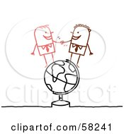 Stick People Character Businessmen Shaking Hands On A Globe