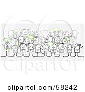 Royalty Free RF Clipart Illustration Of A Stick People Character Crowd With Green Text Bubbles