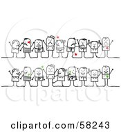Royalty Free RF Clipart Illustration Of A Stick People Character Group With Red Stars And Green Hearts by NL shop