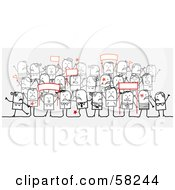 Royalty Free RF Clipart Illustration Of A Stick People Character Crowd Holding Up Protesting Signs