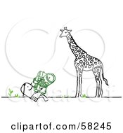 Royalty Free RF Clipart Illustration Of A Stick People Character Photographing A Giraffe by NL shop