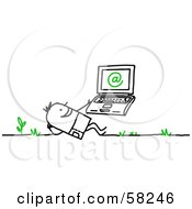 Royalty Free RF Clipart Illustration Of A Stick People Character Man Using A Laptop Outdoors by NL shop #COLLC58246-0109