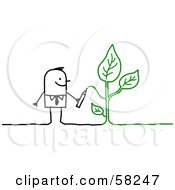 Stick People Character Drawing A Green Plant