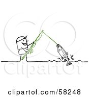 Royalty Free RF Clipart Illustration Of A Stick People Character Reeling In A Fish On A Line