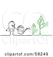 Stick People Character Watering Plants