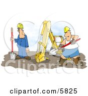 Funny Construction Worker Man Wearing Boxer Shorts While Working Beside An Excavator Clipart Illustration