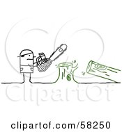 Royalty Free RF Clipart Illustration Of A Stick People Character Using A Saw To Cut Down A Tree