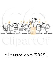 Royalty Free RF Clipart Illustration Of A Stick People Character Dance Party