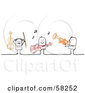 Royalty Free RF Clipart Illustration Of A Stick People Character Band Playing The Violin Guitar And Trumpet
