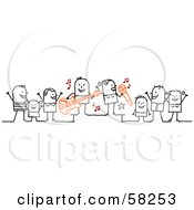 Royalty Free RF Clipart Illustration Of A Stick People Character Concert With Fans Dancing