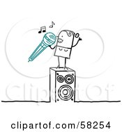 Royalty Free RF Clipart Illustration Of A Stick People Character Woman Singing Karaoke