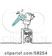 Stick People Character Woman Singing Karaoke