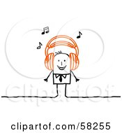 Royalty Free RF Clipart Illustration Of A Stick People Character Wearing Music Headphones by NL shop