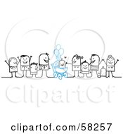 Royalty Free RF Clipart Illustration Of A Stick People Character Family Celebrating The Birth Of A Boy