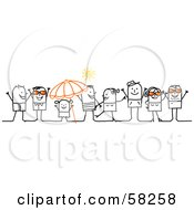 Royalty Free RF Clipart Illustration Of A Stick People Character Crowd Wearing Sunglasses And Hanging Out On A Beach by NL shop