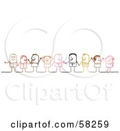 Royalty Free RF Clipart Illustration Of A Stick People Character Diverse Business Team Standing by NL shop