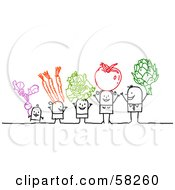 Royalty Free RF Clipart Illustration Of A Stick People Character Family Holding Up Veggies
