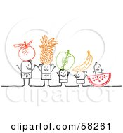 Royalty Free RF Clipart Illustration Of A Stick People Character Family With Fruit On Their Heads