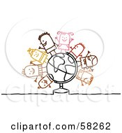 Stick People Character Children Standing On A Globe