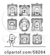 Royalty Free RF Clipart Illustration Of A Stick People Character Man Standing Under Family Portraits