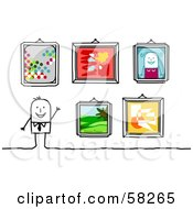 Royalty Free RF Clipart Illustration Of A Stick People Character Displaying Their Art Work In Frames by NL shop