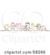 Royalty Free RF Clipart Illustration Of Stick People Character Children Holding Hands