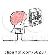 Royalty Free RF Clipart Illustration Of A Stick People Character Man With A Big Brain Carrying Books by NL shop