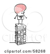 Royalty Free RF Clipart Illustration Of A Stick People Character Man With A Big Brain Standing On Books by NL shop