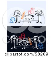 Royalty Free RF Clipart Illustration Of Stick People Character Kids With School Supplies