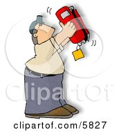 Man Checking The Bottom Of A Standard Handheld Fire Extinguisher Clipart Illustration by djart